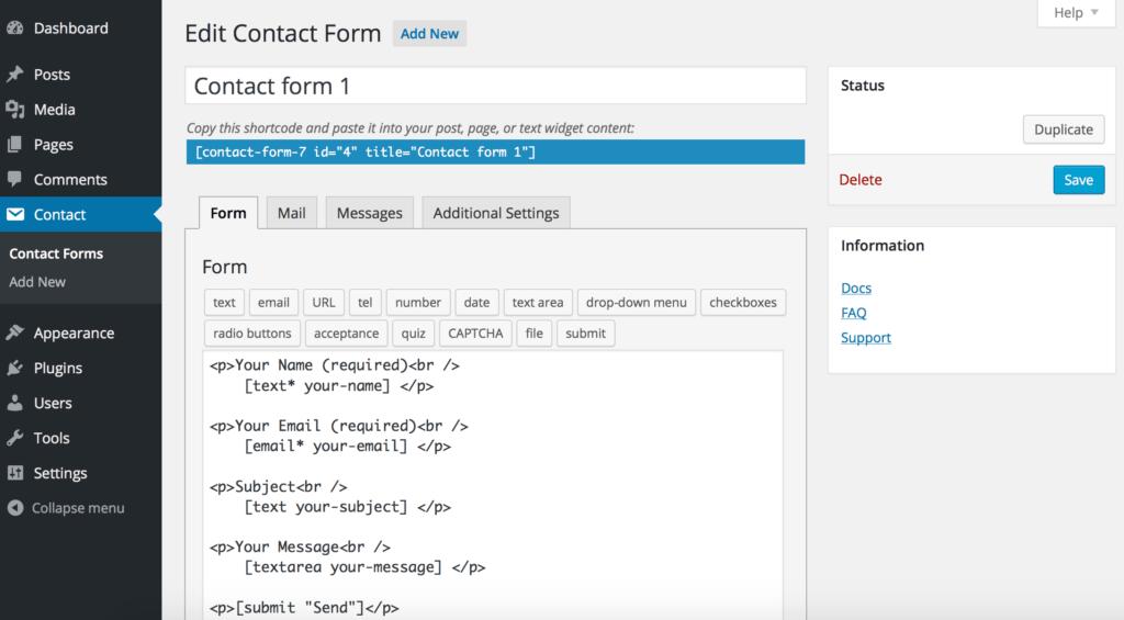 plugin gratuit wordpress pour des formulaires ContactForm7