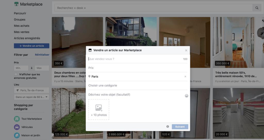 Vendre son bien immobilier sur Facebook marketplace